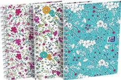 Oxford Floral softcover spiraalschrift, ft A6, 50 vel, geruit 5 mm, 3 geassorteerde designs