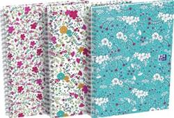 Oxford Floral hardcover spiraalschrift, ft B5, 60 vel, geruit 5 mm, 3 geassorteerde designs