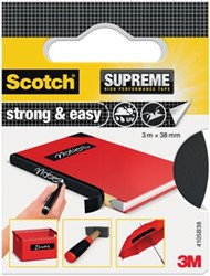 Scotch Supreme reparatietape Strong & Easy, ft 38 mm x 3 m, zwart, blisterverpakking