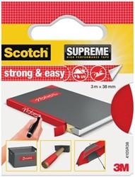 Scotch Supreme reparatietape Strong & Easy, ft 38 mm x 3 m, rood, blisterverpakking