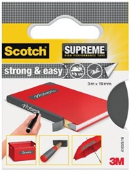 Scotch Supreme reparatietape Strong & Easy, ft 19 mm x 3 m, grijs, blisterverpakking