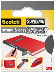 Scotch Supreme reparatietape Strong & Easy, ft 38 mm x 3 m, grijs, blisterverpakking