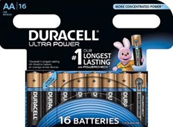 Duracell batterijen Ultra Power AA, blister van 16 stuks