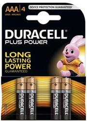 Duracell batterijen Plus Power AAA, blister van 4 stuks