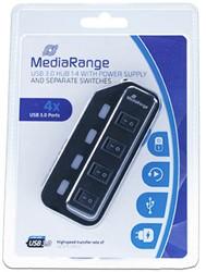USB hub met voeding 4 poorts MEDIARANGE USB 3.0