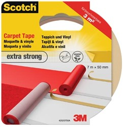 Scotch dubbelzijdige plakband voor tapijt en vinyl Extra Strong, ft 50 mm x 7 m, blisterverpakking