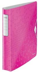 Leitz ringmap A4 met 4D-ringen van 30 mm SoftClick in Wow roze