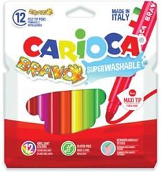 Carioca viltstiften Bravo, kartonnen etui met 12 stuks in geassorteerde kleuren