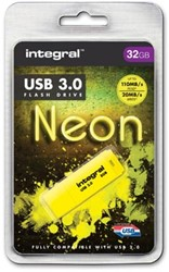 Integral Neon USB 3.0 stick, 32 GB, geel