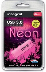 Integral Neon USB 3.0 stick, 64 GB, roze