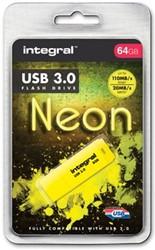 Integral Neon USB 3.0 stick, 64 GB, geel