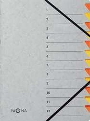 Pagna sorteermap Easy Grey voor ft A4, 12 vakken, oranje
