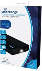 MEDIARANGE MOBILE POWERBANK BLACK MR752 8800mAh Micro-USB charging cable