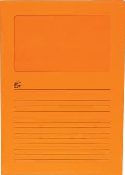 5 Star L-map met venster pak van 100 stuks oranje
