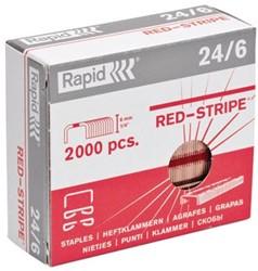 Nietjes Rapid Redstripe 24/6,koper doos van 2.000
