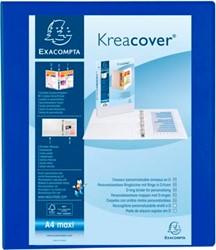 Exacompta ringmap Kreacover, ft A4 maxi, 4 D-ringen van 3 cm, blauw