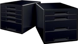 Leitz Dual Black ladenblok met 4 laden, zwart