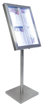 Securit led informatie display Classic ft 4 x A4, roestvrij staal
