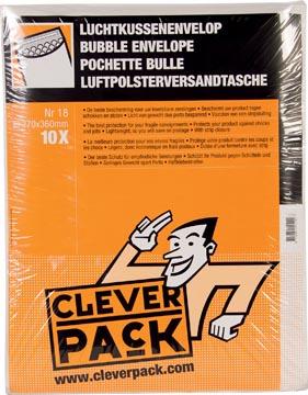 Cleverpack luchtkussenenveloppen, ft 270 x 360 mm, met stripsluiting, wit, pak van 10 stuks