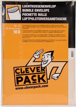 Cleverpack luchtkussenenveloppen, ft 300 x 445 mm, met stripsluiting, wit, pak van 10 stuks