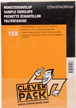 Cleverpack monsterenveloppen, ft 229 x 324 x 38 mm, met stripsluiting, crème, pak van 10 stuks