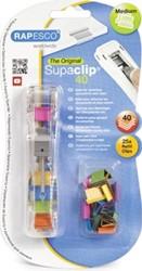 Rapesco Supaclip 40 doorzichtige dispenser, op blister met 25 klemmen in geassorteerde kleuren