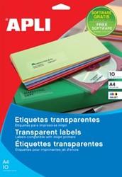 Apli Transparante etiketten ft 210 x 297 mm, 10 stuks, 1 per blad