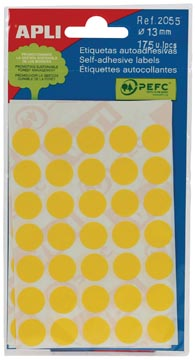 Apli ronde etiketten 13mm geel