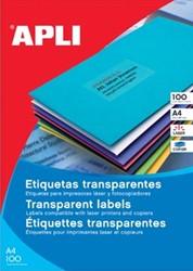Apli Transparante etiketten ft 210 x 297 mm, 20 stuks, 1 per blad