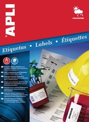 Apli waterbestendige etiketten ft 64,6 x 33,8 mm, 480 stuks, 24 per blad, doos van 20 blad