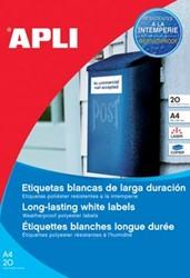 Apli waterbestendige etiketten ft 210 x 297 mm, 20 stuks, 1 per blad, doos van 20 blad