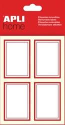Apli verwijderbare huishoudetiketten rechthoek, rood