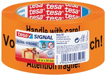 "Tesa signalisatietape ft 50 mm x 66 m, oranje, met opschrift ""handle with care"""