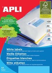 Apli Witte etiketten ft 199,6 x 289,1 mm, 100 stuks, 1 per blad (2412)