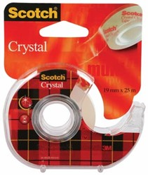 Scotch® Plakband Crystal ft 19 mm x 25 m, afroller met 1 rolletje