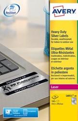 AVERY ultrasterke zilverkleurige etiketten ft 63,5 x 29,6 mm, 540 stuks