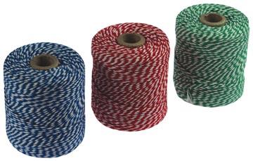 Katoentouw klos van 100 g, pak van 5 stuks (2 x blauw/wit, 2 x rood/wit en 1 x groen/wit), +/- 100 m