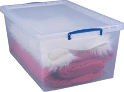 Really Useful stapelbare Box 62 liter, transparant, pak van 3 stuks