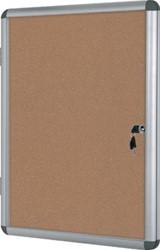 Vitrine met prikbord kurk en stevige aluminium lijst 9 x A4