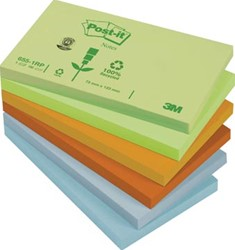 Post-It gerecycleerde Notes Regenboog, ft 76 x 127 mm, pak van 12 blokken
