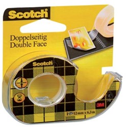 Scotch® dubbelzijdige plakband ft 12 mm x 6,3 m + afroller