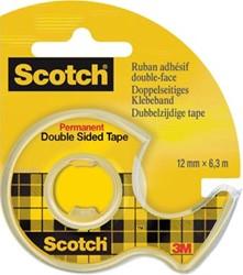 Scotch® dubbelzijdige plakband ft 12 mm x 6,3 m + afroller