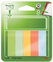 Gerecycleerde papieren markeerstroken ft 15 x 50 mm, pak van 5 blokjes, geassorteerde kleuren: lichtgr...