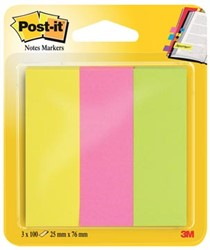 Post-it notes markeerstroken, ft 25 x 76 mm, neon geassorteerde kleuren, blister met 3 x 100 vel