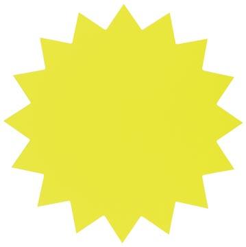 Folia etiketten in fluokarton 18 cm fluo geel sterren