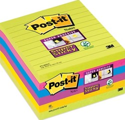 Post-it Super Sticky Notes, geassorteerde kleuren, ft 101 x 101 mm, 90 vel, pak van 6 blokken