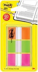 Post-it Index standaard, ft 25,4 x 43,2 mm, blister met 3 kleuren, 20 tabs per kleur