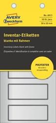Avery inventarisetiketten, ft 50 x 20 mm, van zilver polyesterfolie met grijs kader, 50 stuks, 5 per vel