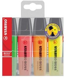 Highlighter Stabilo Boss Original etui van 4 stuks: geel, groen, oranje en roze