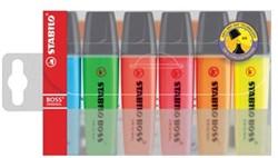 Highlighter Stabilo Boss Original plastic etui van 6 stuks: geel, groen, oranje, roze, blauw en rood